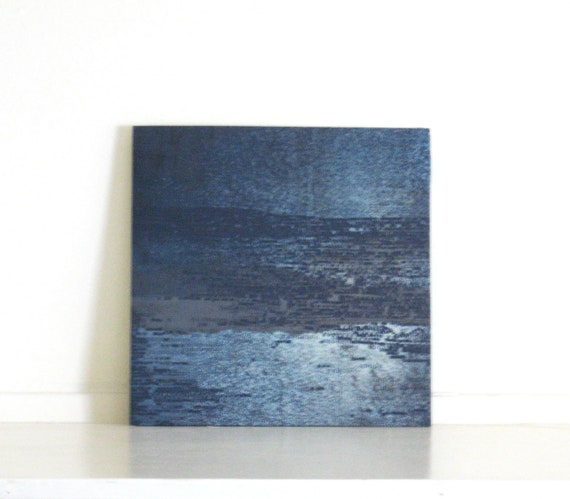 Etching Print/ Navy Blue Home Decor: Striation 28...Free Shipping