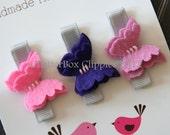 Baby Hair Clips Petite Butterflies in Purple Wool Felt Baby Alligator Clips Infant Toddler Girls