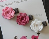 Baby Hair Clips Petite Rosebuds in Pink and White Wool Felt Mini Alligator Clips Girls Hair Clips