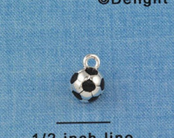 1 silver plated SOCCER round 3-D Charm che0163