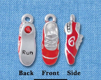 1 Red Silver Plated CROSS COUNTRY Running Tennis Shoe Charm Pendant with rhinestones  che0340