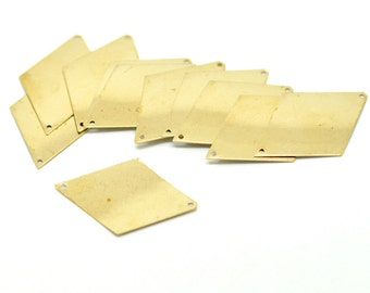 30 Brass Sheet Metal Stamping Blanks, diamond rhombus shape, drilled with 2 holes, 42x28mm  MSB0112