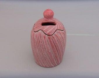 Ceramic Bank - Tzedakah - Charity - Hand Carved Reddish  Glaze