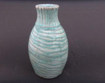 Small Turquoise Pottery Vase - Handmade Earthenware