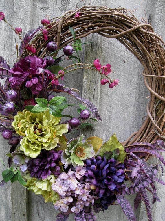 Floral Wreath, Jewel Tone, Elegant, Designer Wreath