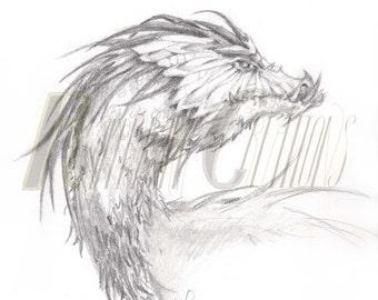 Dragon, Fantasy Drawing Pencil Sketch Print
