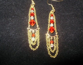 Swarovski and Gold Double Drop Earrings