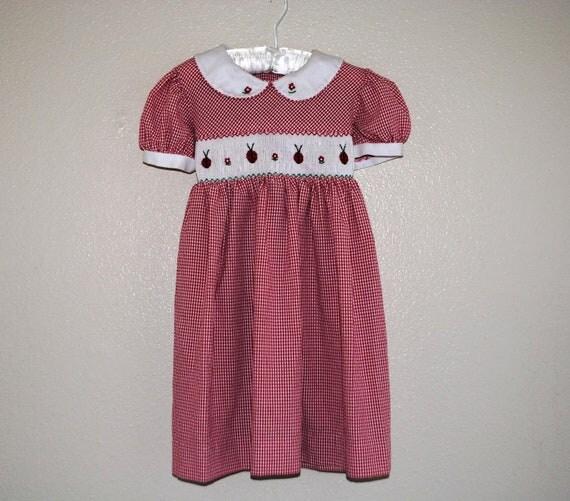 RESERVED VTG red Gingham smocked Ladybug dress
