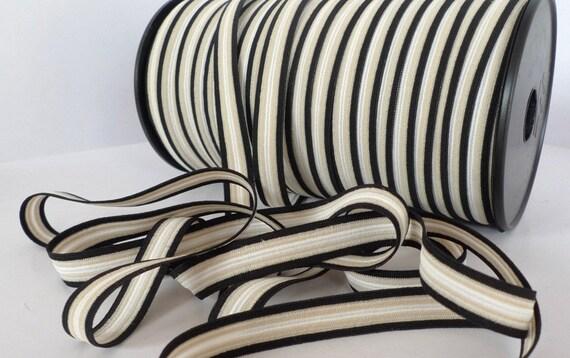 5 yards - 1/2 inch White Beige and Black Stripes Elastic band - Stretch Elastic - Bookbinding - Headbands - Hair ties