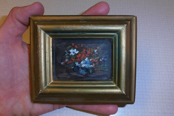 Flower painting, floral picture, molded plaster, hand-painted -Vintage