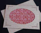 Handwoven Note Card Red White Owls (C181)