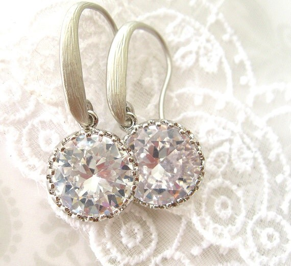 Sparkling CZ drop earrings -  Simply sparkling cubic zircon Rhodium plated dangle earrings - FIRST DANCE Hollywood glam wedding jewelry