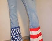 Levis LOW Rise Denim Jeans -Studded American Flag Style Sz 3