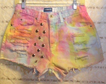 28 inch waist......High Waisted TIE  Dyed  Denim Shorts - Studded