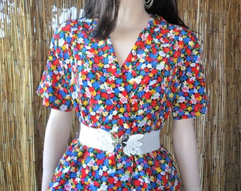 Vintage 80's Liz Claiborne Floral Print Top Sz 8 petite