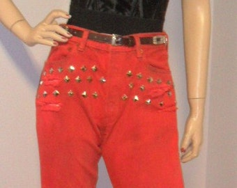 Levis 501 Button Fly Red  Hand Dyed Distressed ---STUDDED--- Denim Jeans Waist  28  Inches