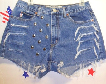 Guess Mid RISE  Denim Shorts - Studded--- -Size 30