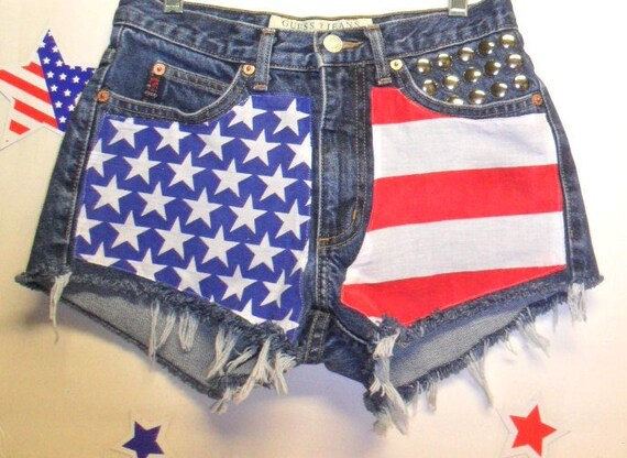 GUESS Low Rise Denim Shorts - Studded---American Flag Style