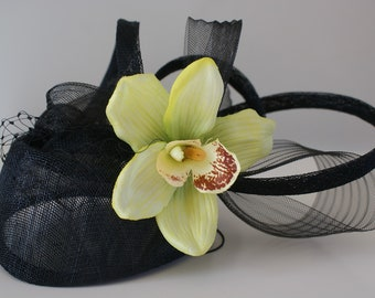 Ascot Black Weddinghat  Emma and Ella Handmade Unique fascinator,  orchid flower sinamay loops and veiling Wedding Races