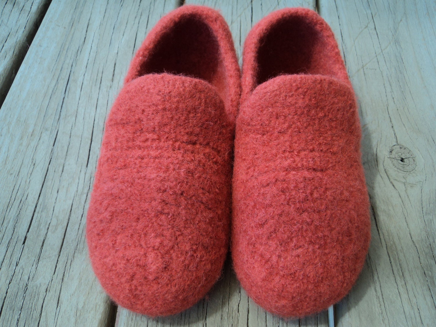 Felted Slippers Knitting Pattern : PDF Womens Loafer Slipper Felted knit Pattern