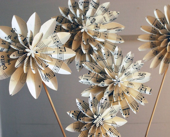 Music Notes,Paper Flowers, Flute Sheet Music, Book Blossom, Book Pages, First Anniversary, Paper Dahlias, 5 Origami Flowers on stems