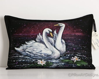 Painted Swans Fine Art Lumbar Pillow Cover Hand Drawn Original Black and White 12 X 18