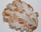 Curly Feather Pad - Two Tone Cream Ivory on Caramel Light  Tan Brown  FP127- (1piece)
