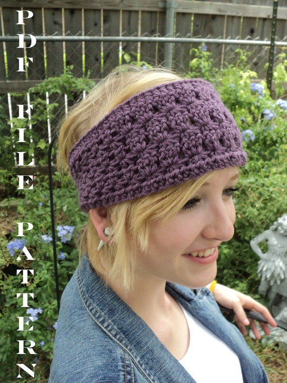 Star Stitch Wide Crochet Headband with large button closure - purple view - CROCHET PATTERN ONLY--