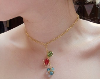 The Legend of Zelda's® Golden Choker with Hanging Spiritual Stones and Triforce