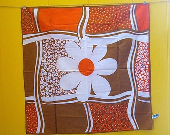Vintage Scarf/Vintage Bandana/Japanese Scarf/Orange Scarf/Flowered Bandana/Brown Scarf/Boho Accessories