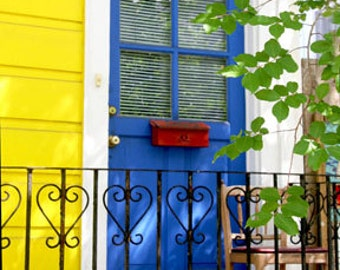 New Orleans photography, French Quarter door, Marigny neighborhood, blue door photograph, yellow house, colorful architecture, bright colors