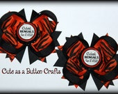 set of Two small piggie boutique cincinnati bengals inspired hair bows perfect for football season
