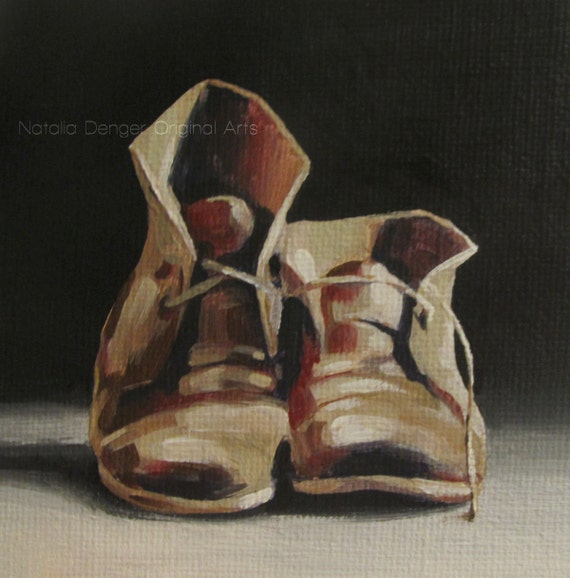 Original Painting Old Shoes Black Beige Brown Suede Leather Boots on Canvas