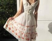 1950's Vintage Prom Dress / Wedding /Cream with orange flowers / Mad Men /Lorrie Deb