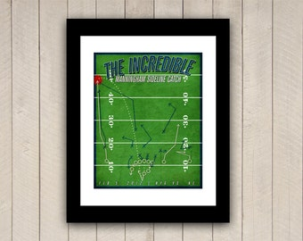 "New York Giants Football Print ""The Incredible Manningham Sideline Catch"" Infographic Football Poster In Green, Blue, Red, Cream"
