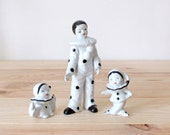 Vintage set of 3 porcelain Pierrot figurines