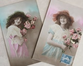 2 Postcards Vintage French 1921