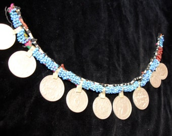 Kuchi turquoise bead string with real coins