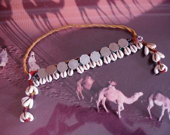 Indian Banjara arm band with coins and shells