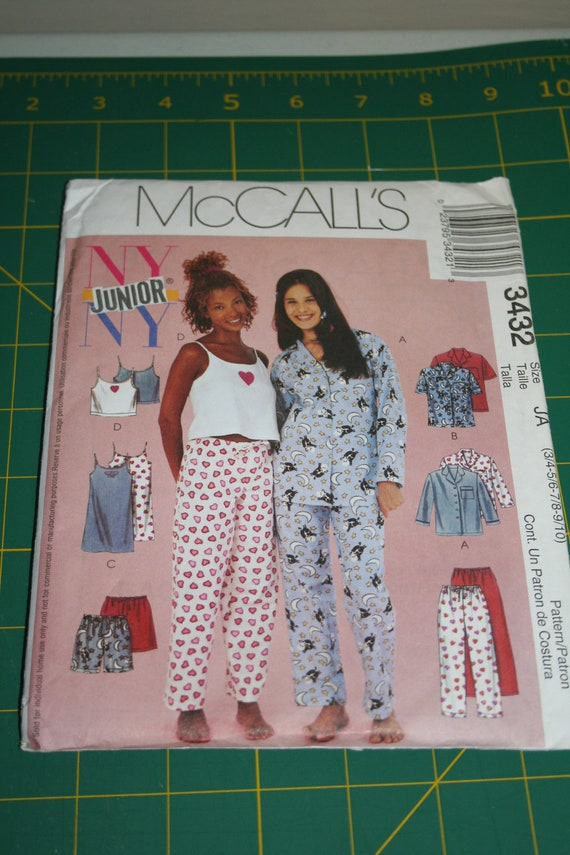 Sale McCall's NY NY Junior 3432 Cute Pajama and Nightgown Pattern UNCUT size 3/4-9/10