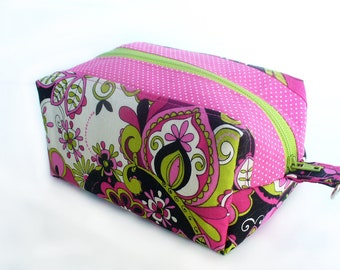 boxy zipper pouch for cosmetics in pink, black and lime green retro cotton
