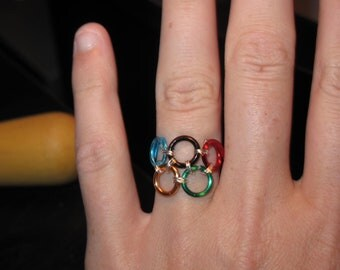 Wire Wrapped Olympic Rings MADE TO ORDER Ring
