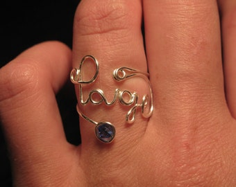 Wire Wrapped YOUR NAME Adjustable Ring With Your Birthstone