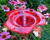 Bird and Butterfly Feeder, Suncatcher, stained glass, copper, RED, outdoor, Garden Decor