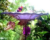 IRIDESCENT Violet BIRD BATH, copper, stained glass, Garden Art, home decor, outdoor
