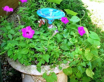 CONTAINER GARDENING, Butterfly Feeder, stained glass,  AQUA, copper, garden stake, Garden Art