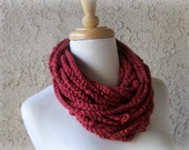 Pumpkin Spice Terra Cotta Crocheted Chain Scarf with Knots, Infinity, Cowl, Handmade Scarves