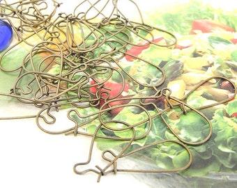 Earring kidney Hooks Antique Bronze Filigree Metal 25mm---100pieces---3Mo