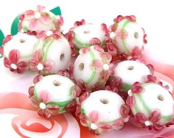 5beads/lot Charm Pink Petal Flower Green Twist Rondelle Lampwork gemstone beads 8mmx15mm