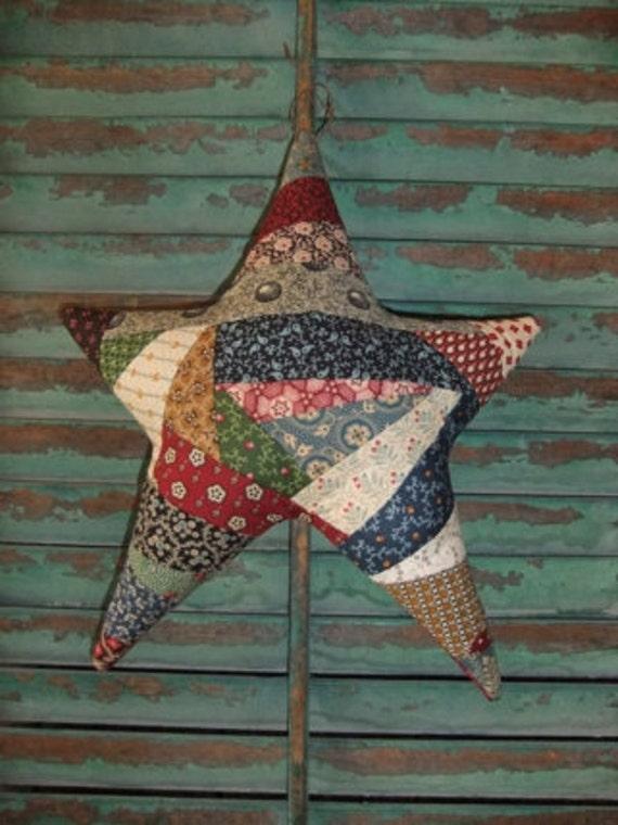 Primitive Hanging Star Large Scrappy Crazy Quilt